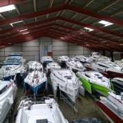 Dragonfly trimarans in winter storage