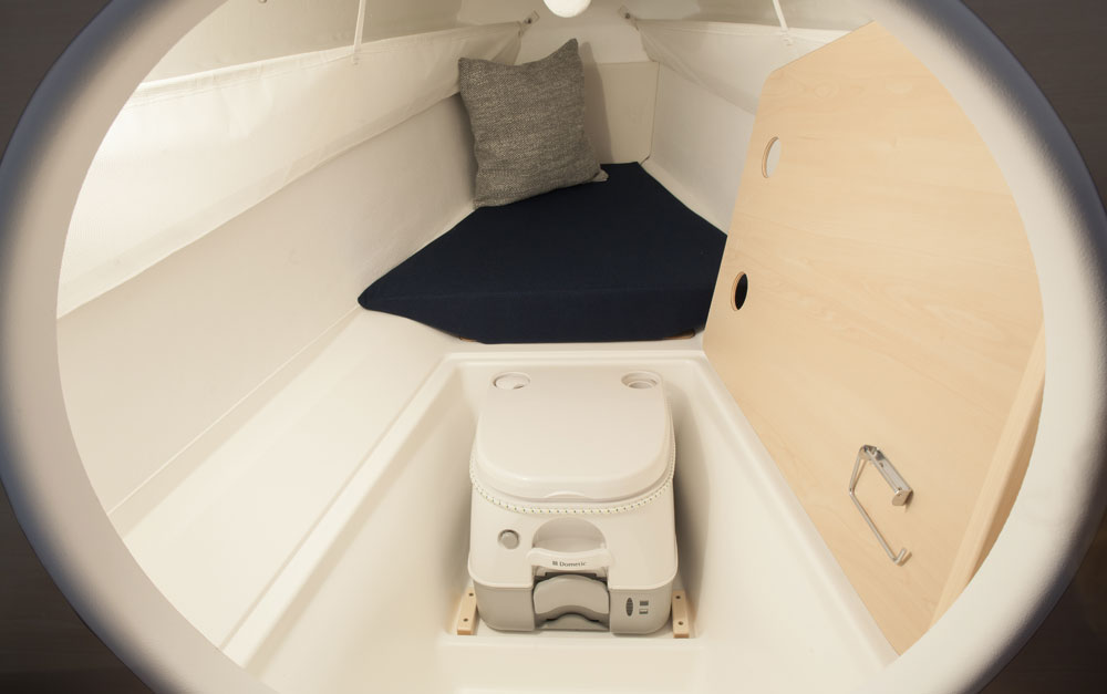 Dragonfly 25 trimaran optional chemical toilet below forward berth