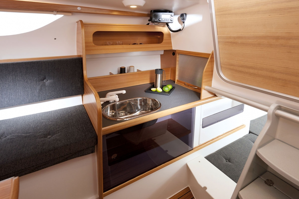 Dragonfly 28 trimaran galley, starboard side