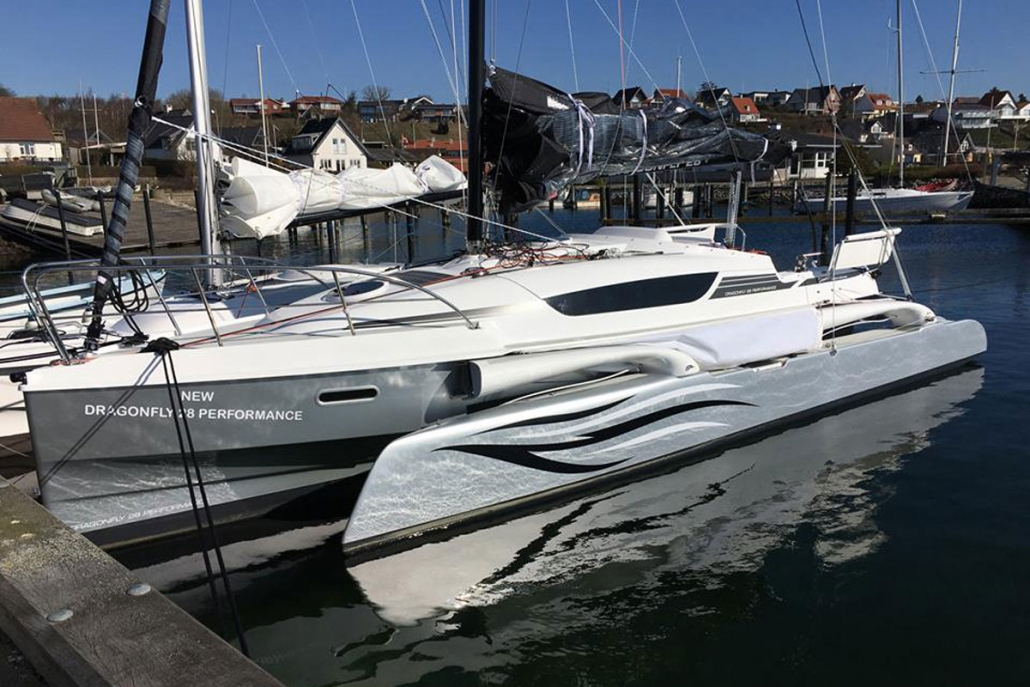 Dragonfly 28 trimaran folded in marina