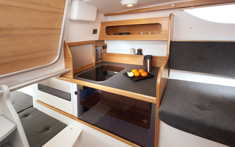 Dragonfly 28 trimaran galley, port side