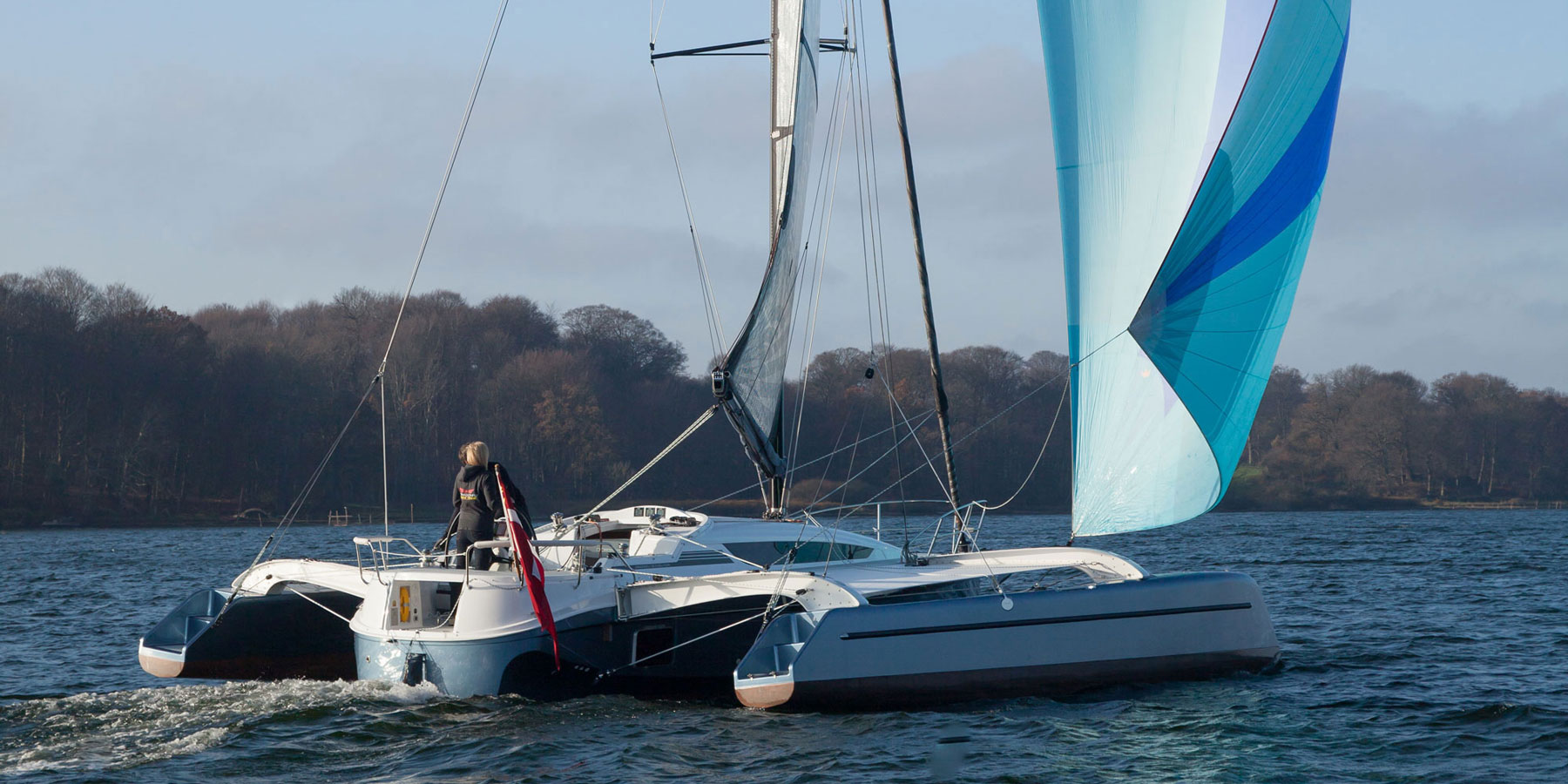 Dragonfly 32 Evolution trimaran sailing with gennaker