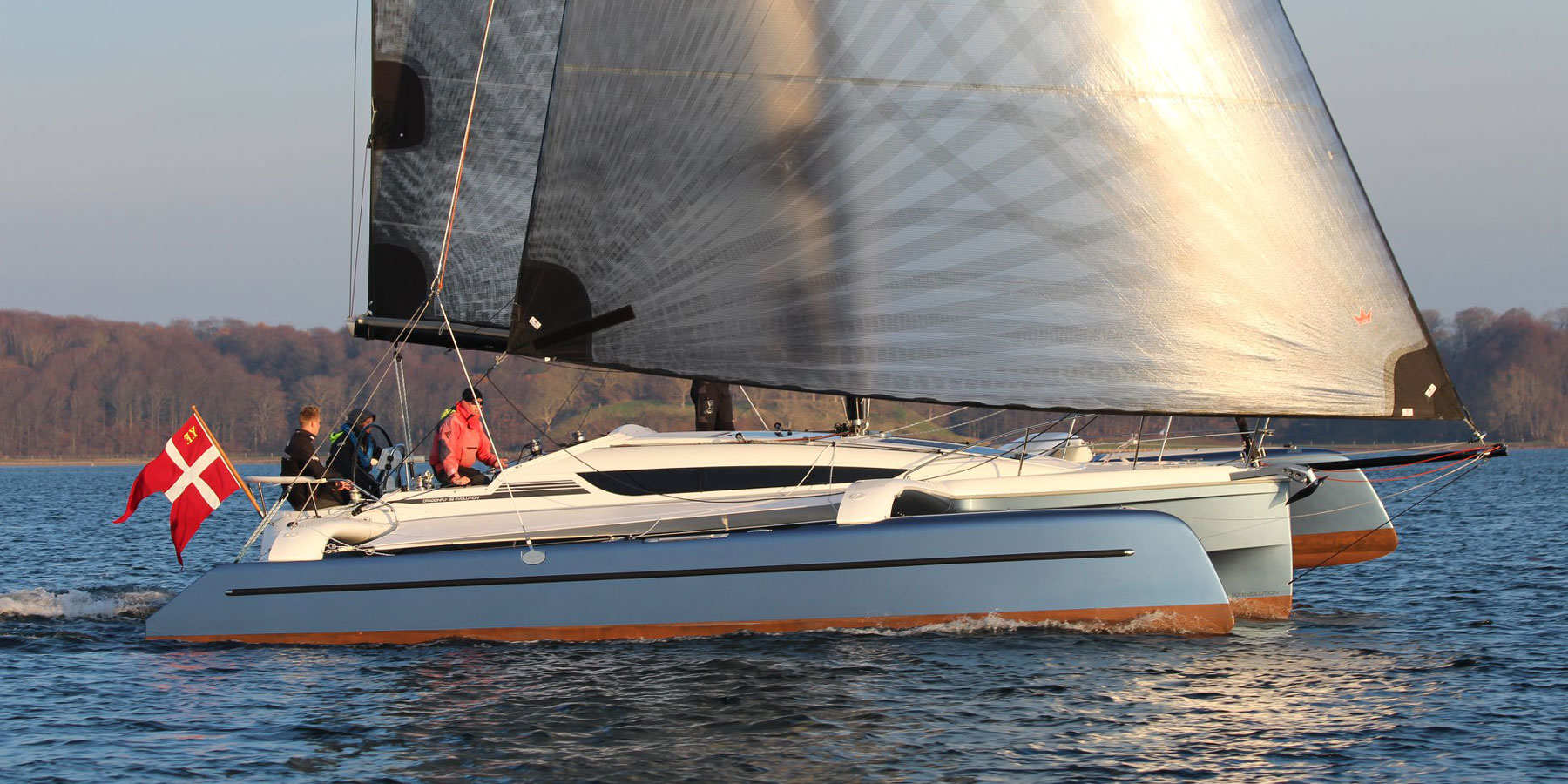 Dragonfly 32 Evolution trimaran sailing with Code 0