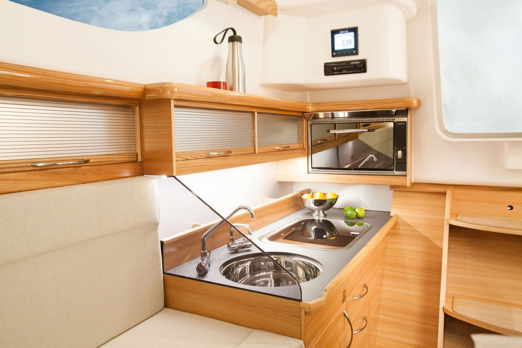 Dragonfly 32 trimaran galley starboard side