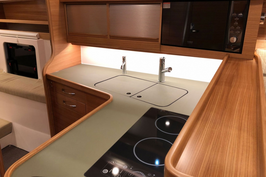 Dragonfly 40 trimaran galley