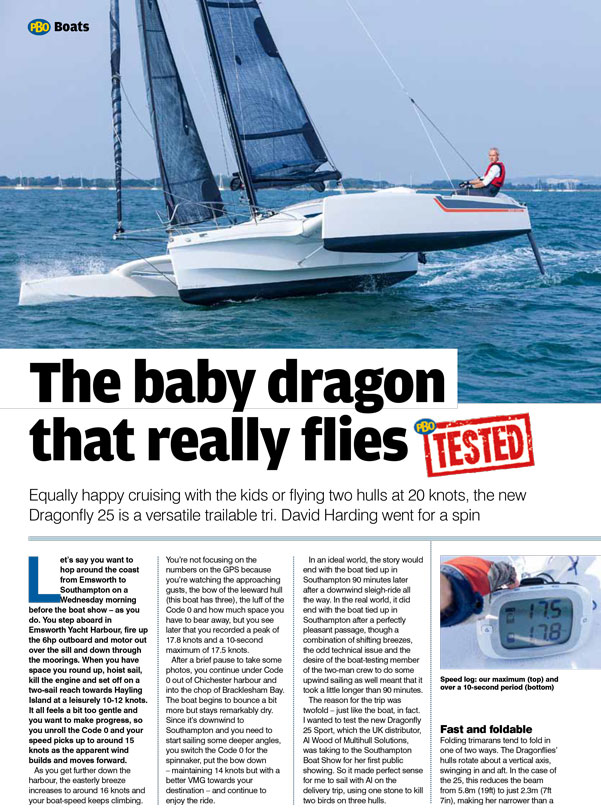 Dragonfly 25 trimaran tested by PBO magazine