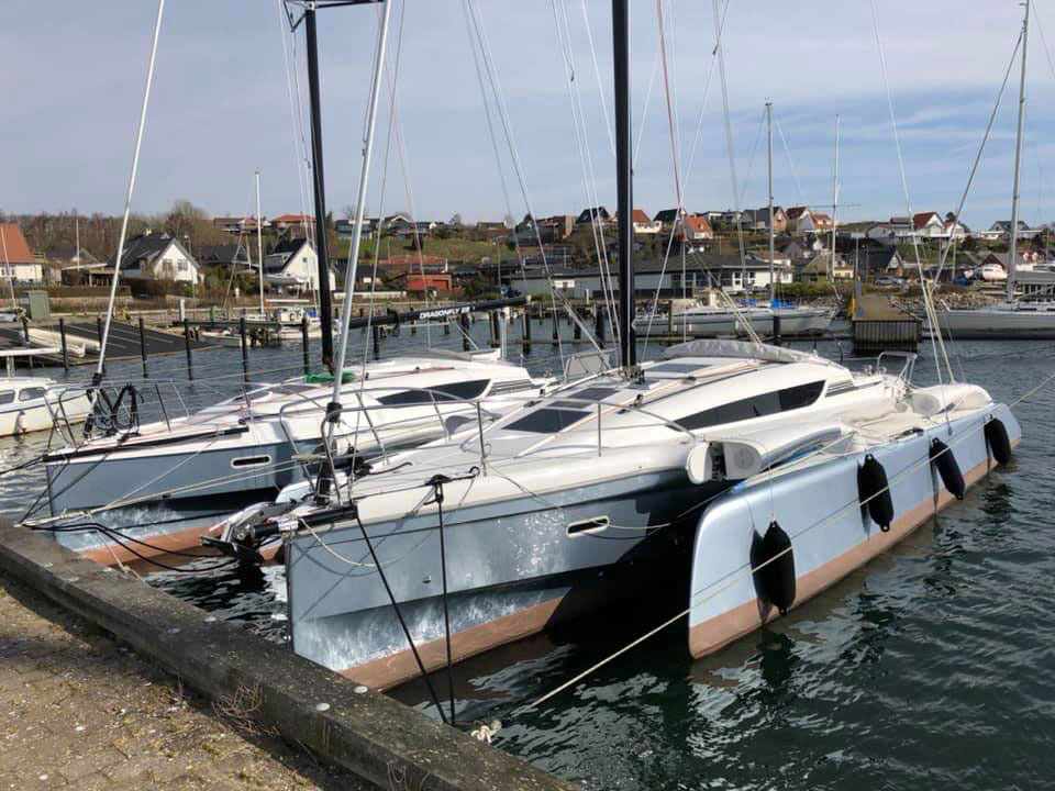 Dragonfly 32 trimaran folded in marina