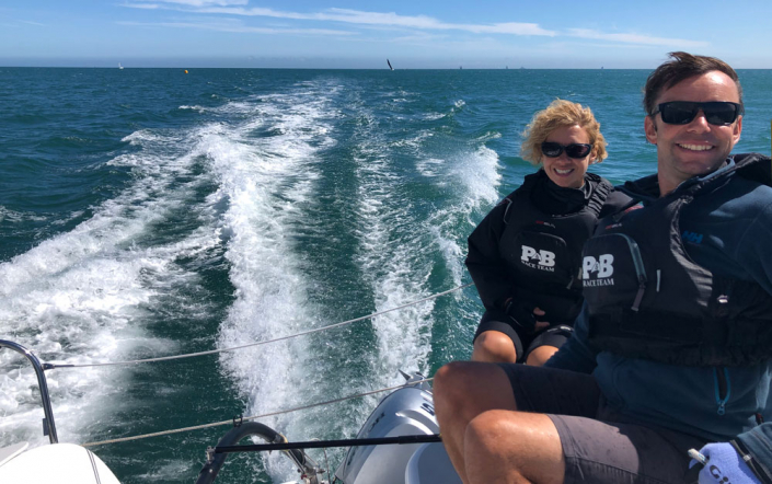 Dragonfly 28 trimaran racing in RORC Race the Wight