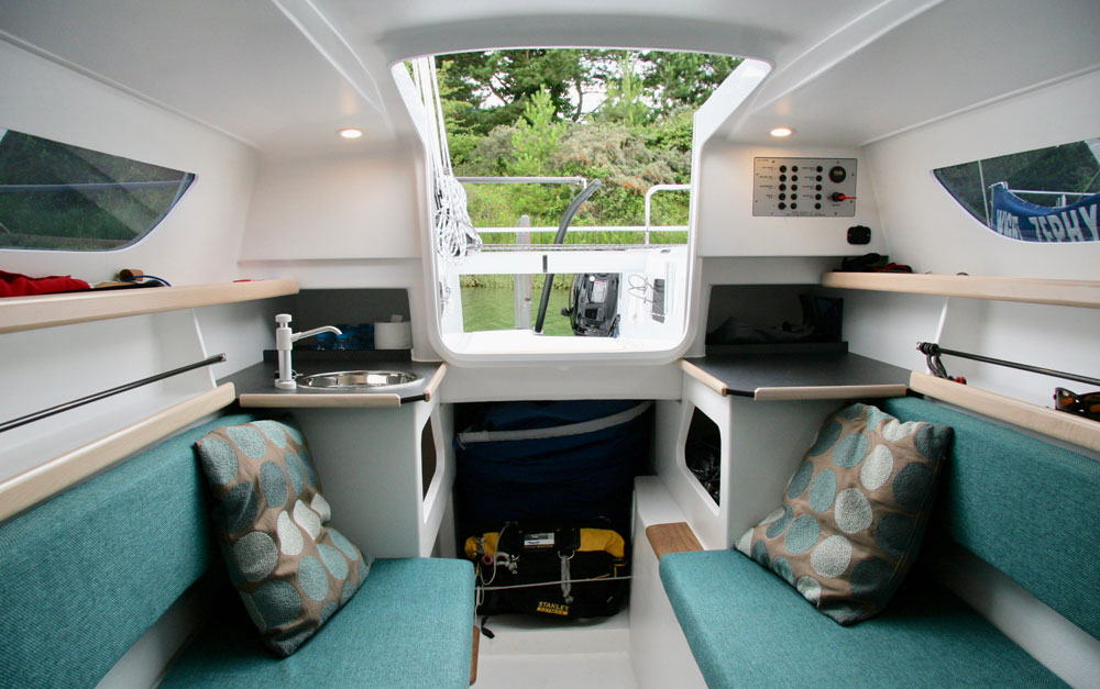 Dragonfly 25 centre cabin looking aft