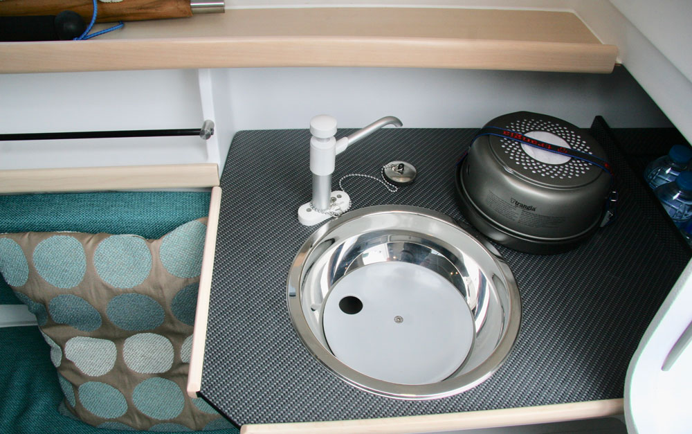 Dragonfly 25 trimaran galley with alcohol stove