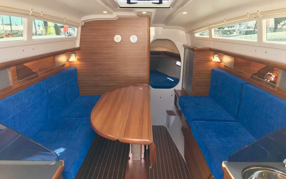 Dragonfly 32 Touring main cabin with teak joinery