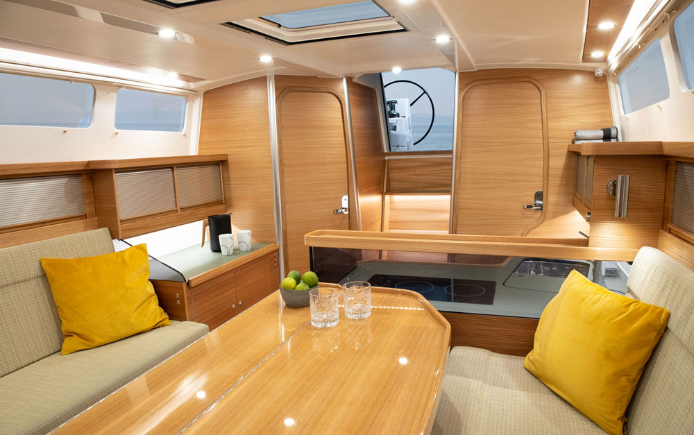 Dragonfly 40 saloon looking aft